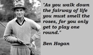 ben hogan quote about life for breakfastballs.golf social distancing blog for used golf balls
